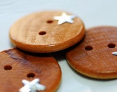 Silver Stars Wooden Buttons