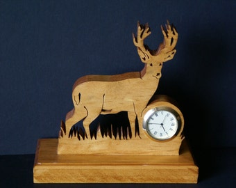 10 Point Buck Deer Big Game Wood Scroll Saw Desk Clock