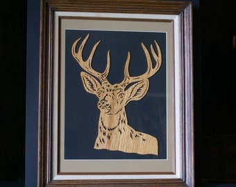 White Tail Deer Wall Art Deluxe Frame One of a Kind Gift