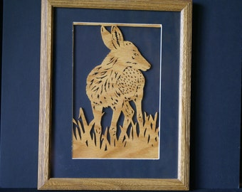 White Tail Deer Fawn in the Meadow Wood Wall Art Standard Frame One of a Kind Gift