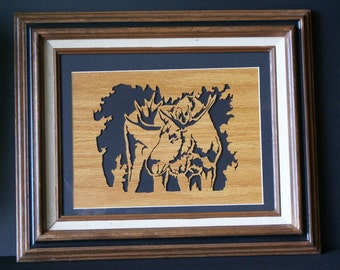 Bull Moose in the Woods Wood Framed Wall Art