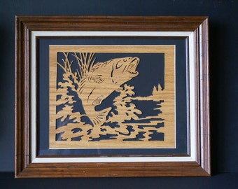 Big Mouth Bass Leaping in the Lake Wood Framed Wall Art