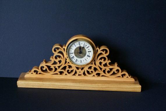 Fretwork Ornate Wood Mantel Clock Scroll Saw Cut