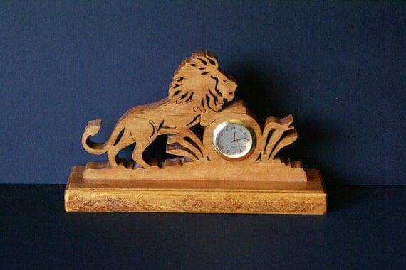 Lion on the Prowl Wood Fretwork  Desk Clock Scroll Saw Cut