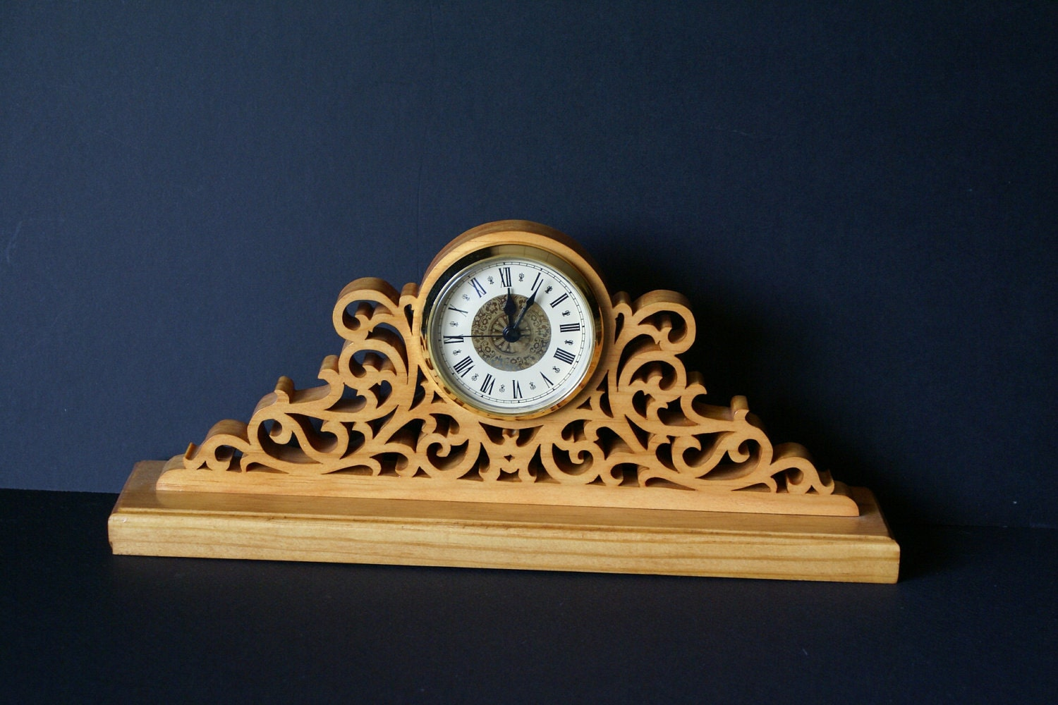 Fretwork Ornate Wood Mantel Clock Scroll Saw Cut