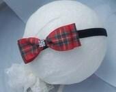 Red plaid Hair Bow on Velvet headband