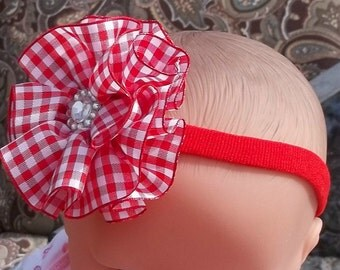 Red Gingham Flower Band