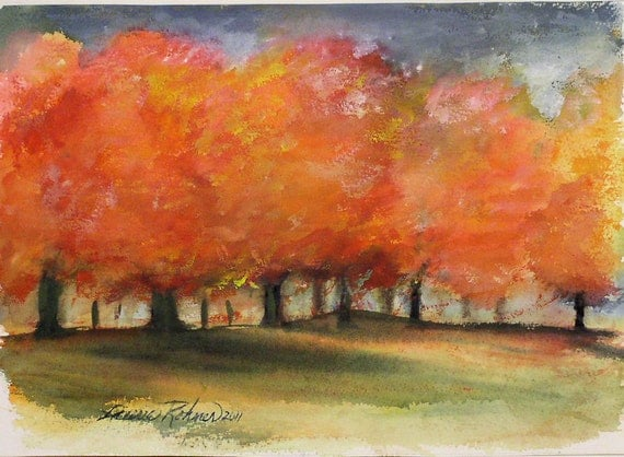 Original watercolor painting autumn storm fall color maple for Fall paintings easy