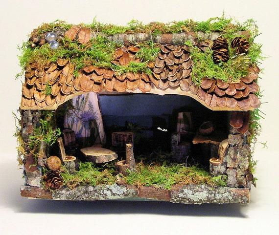 Woodland Fairy House Custom Built Moss Pine Cone Branch Twig Furniture