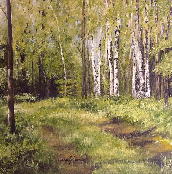 Original Landscape Oil Painting Birch Trees in Forest