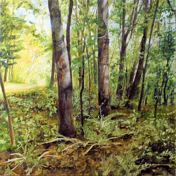 Vermont Watercolor Landscape Painting Trees Woodland Fairy Forest