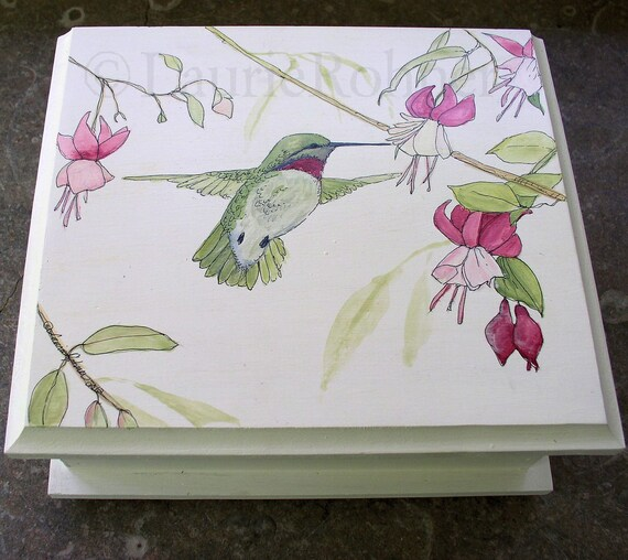 Painted Furniture Upscale Cottage Wood Box Hummingbird