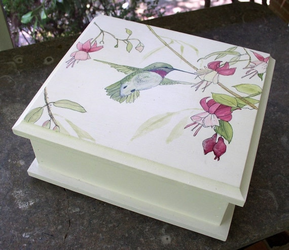 Painted Furniture Upscale Cottage Wood Box Hummingbird