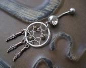 Triple Feather Metallic Dream Catcher Belly Button Ring- Copper Bronze Silver Dreamcatcher Charm Navel Piercing