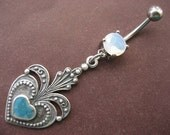 Last One- Belly Button Ring- Turquoise Blue Heart Stone Pendant Dangle Navel Piercing