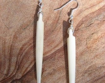 Chupacabra- Fang Spike Tooth White Bone Earrings