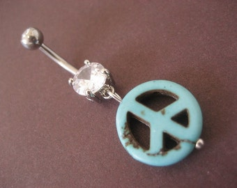 Belly Button Ring Jewelry. Belly Button Jewelry Navel Ring- Turquoise Stone Peace Sign Charm Dangle Piercing Bar Belly Button Ring Jewelry.