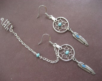Turquoise Dream Catcher Asymmetrical Cartilage Helix Chain and Ear Cuff Piercing Dreamcatcher Earring Set Azeeta Designs