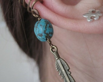 Single Ear Cuff- Turquoise Bronze Feather Cartilage Earring Wrap Pierce Free Pierceless No Piercing