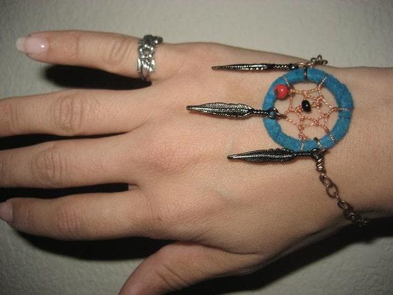 Dream Catcher Bracelet- Blue Adjustable Turquoise Coral Dreamcatcher