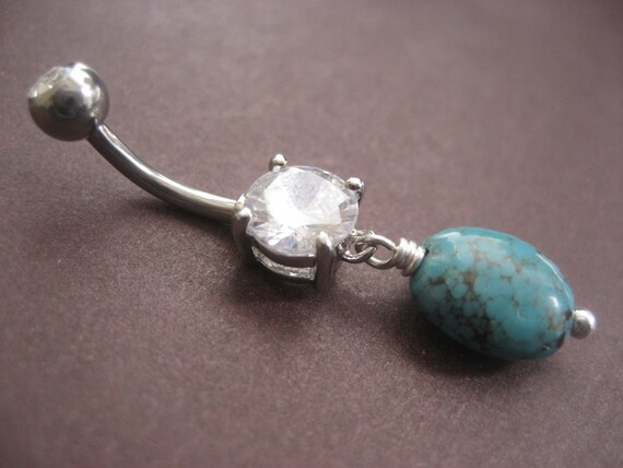Items similar to Simple Turquoise Stone Clear Gem Belly ...