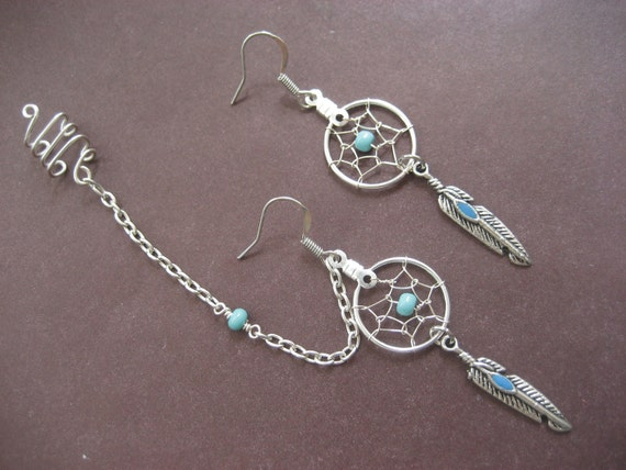 Turquoise Dream Catcher Asymmetrical Cartilage Helix Chain and Ear Cuff Piercing Dreamcatcher Earring Set Azeeta Designs
