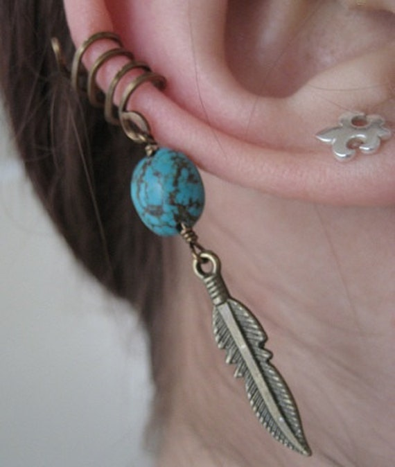 Single Ear Cuff- Turquoise Bronze Feather Cartilage Earring Wrap Pierce Free Pierceless No Piercing