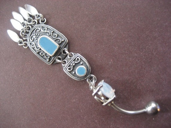 Last One! Belly Button Ring Jewelry- Teal Turquoise Stone Dangle Chandelier Navel Piercing