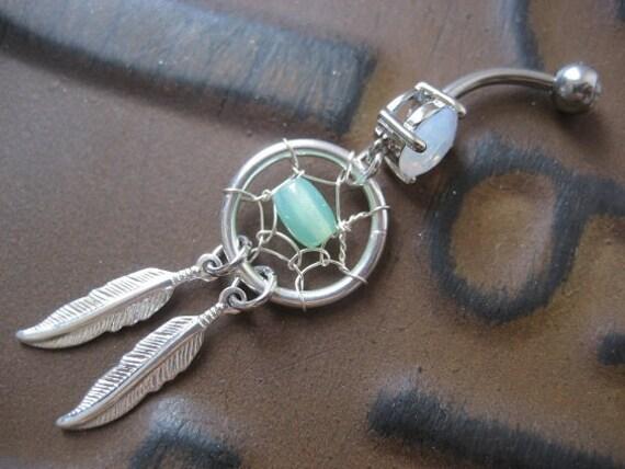 Mint Green Opal Dream Catcher Belly Button Ring Navel Piercing Dreamcatcher Belly Button Piercing