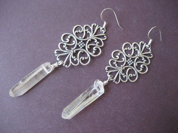 Genuine Natural Rough Quartz Crystal Point Chandelier Filigree Lace Earrings