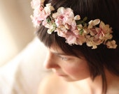 Pale pink vintage flowers hand made floral crown - jeezelouise