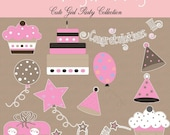 Cute Girl Party Cliparts Collection