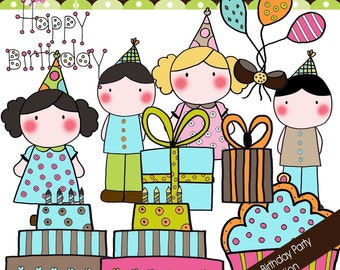 Doodle Birthday Party  - Digital Cliparts Collection - COMMERCIAL USE OK