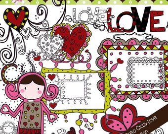Doodle Retro Crazy Love Collection - COMMERCIAL USE OK