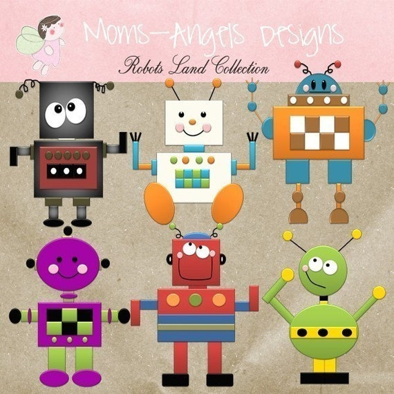 Robots Land Collection- Digital Cliparts - COMMERCIAL USE OK
