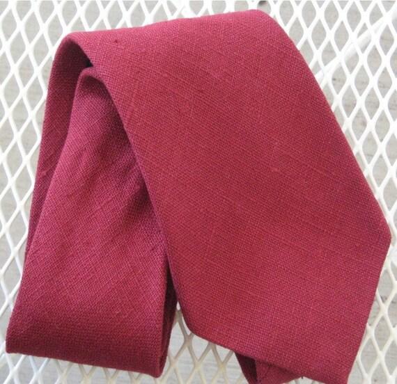 Vintage Garnet Red Irish Linen Necktie From Saks Fifth Avenue