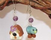 Mismatched Dangle Earrings - Bluebird and Bird House - Look a Like Glass Lampwork