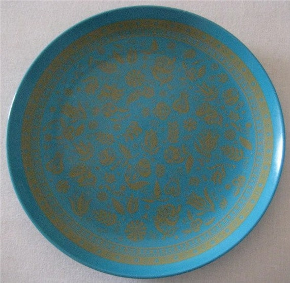 Turquoise Plastic Plate With Gold Accents Styled by George Briard for Artisan