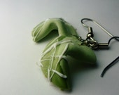 Pale Green Fortune Cookie Earrings Miniature Food Jewelry