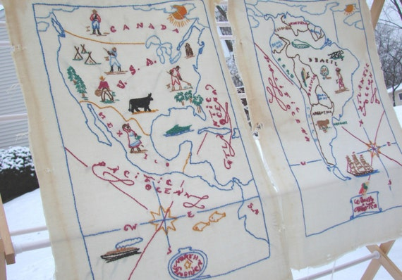 Vintage embroidered maps of north and south america