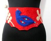 Red Felt Belt With Phoenix Bird Appliqued