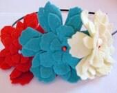 Colorful 3D Felt Floral Headband, Spring Fashion