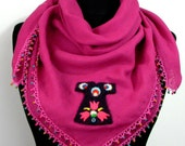 Pink - Beaded and Felted Caftan Appliqued  Regional Neck Warmer