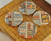 BUTTON MAGNET or PINBACK with real vintage art, not repro -- cool Retro Refrigerator set of 4