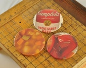BUTTON MAGNET or PINBACK with real vintage art, not repro -- Mmm Good Campbell's Soup set of 3