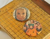 BUTTON MAGNET or PINBACK with real vintage art, not repro -- set of 2 retro Halloween
