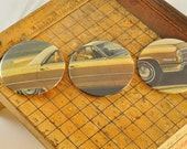 BUTTON MAGNET or PINBACK with real vintage art, not repro -- Retro Yellow Car set of 3