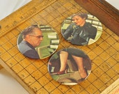 BUTTON MAGNET or PINBACK with real vintage art, not repro -- retro shoe salesman and lady customer