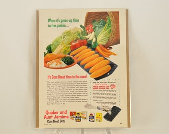 VINTAGE AD - Quaker and Aunt Jemima Corn Meal and Grits,  perfect to decorate your kitchen.