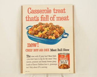 VINTAGE AD - Chef BOYARDEE Meatball Stew,  perfect to decorate your kitchen.